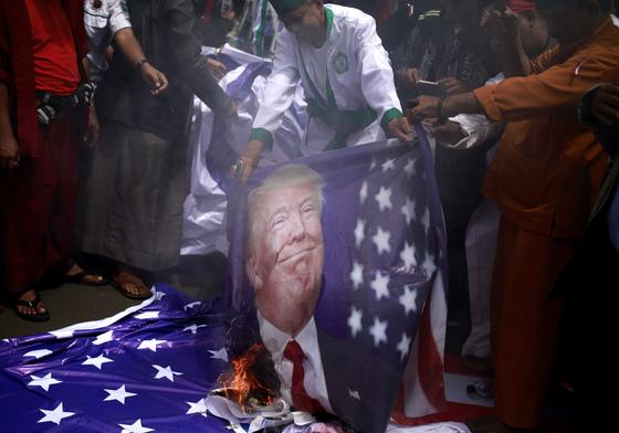 인도네시아의 반미 시위 [AP=연합뉴스]
