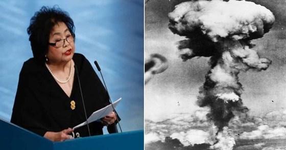 10일(현지시간) 노르웨이 오슬로에서 열린 노벨평화상 시상식에서 수상자인 반핵단체 핵무기폐기국제운동(ICAN)을 대표해 수락 연설을 하고 있는 일본 히로시마 원폭 생존자인 서로 세츠코(좌). 오른쪽은 히로시마 폭격 당시 원폭 구름의 모습. [AFP PHOTO / Odd ANDERSEN=연합뉴스·중앙포토]