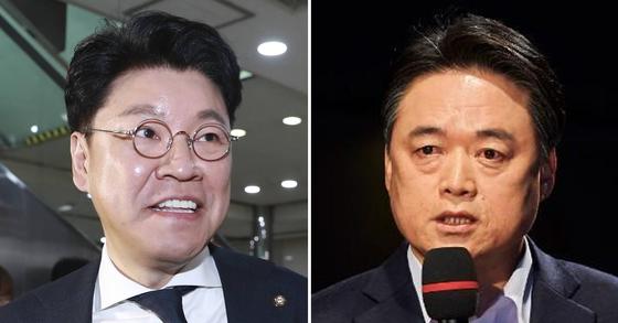 장제원 자유한국당 의원(왼쪽)과 최승호 신임 MBC 사장. [중앙포토]