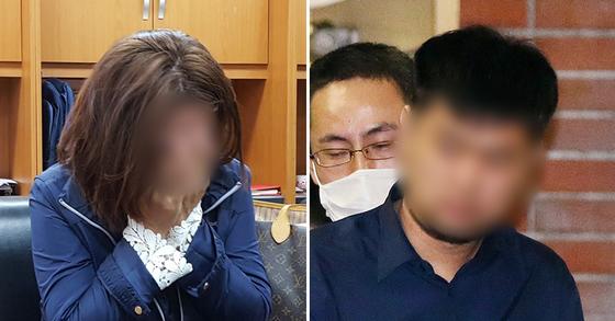야스쿠니 신사 폭발음 사건 용의자 전모씨의 어머니 이모씨가 기자회견 중 눈물을 보이고 있다(왼쪽). 현지에서 호송 중인 전씨. [중앙포토]