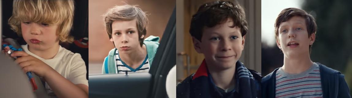 퍼포먼스와 럭셔리를 표방하는 차량의 광고에서 최근 '어린 아이들'이 주인공을 꿰차고 있다. (왼쪽부터) 아우디 A8, BMW M3, 메르세데스 벤츠 C300 4Matic, 포르쉐 카이엔 터보 광고. [사진 각 제조사]