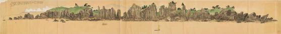 김규진의 '해금강총석도'. 종이에 채섹, 37×335㎝. 1920년 김규진이 희정당 벽화 제작을 의뢰받은 후 금강산을 둘러보고 그린 초본 그림이다. [사진 문화재청]