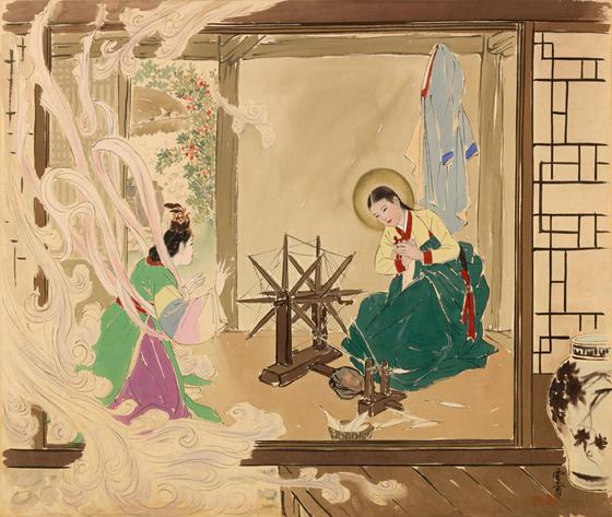 김기창, 수태고지, 1952~1953, 비단에 채색, 63.5X73 사진=서울미술관