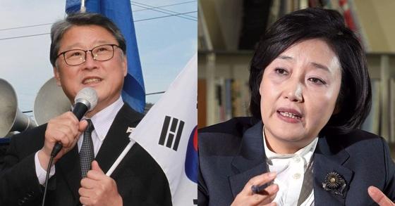 대한애국당 조원진 대표(왼쪾)와 더불어민주당 박영선 의원. [연합뉴스, 중앙포토]