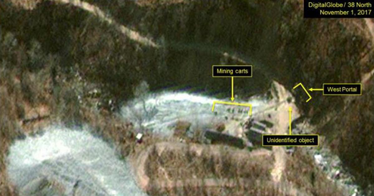 북한 풍계리 핵시험장 서쪽 갱도 지역. [사진 디지털글로브ㆍ38노스]