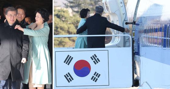 문재인 대통령과 김정숙 여사가 13일 오전 서울공항에서 중국순방을 위해 전용기에 오르고 있다. 청와대사진기자단