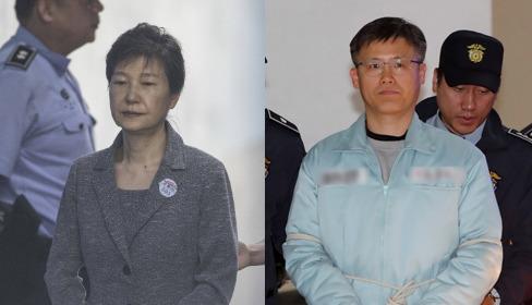 박근혜 전 대통령과 정호성 전 청와대 부속비서관. [중앙포토]