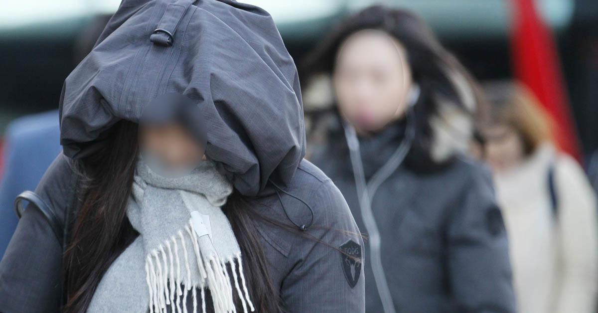 한파주의보로 시민들이 머리를 감싼 채 길을 건너고 있다. 신인섭 기자