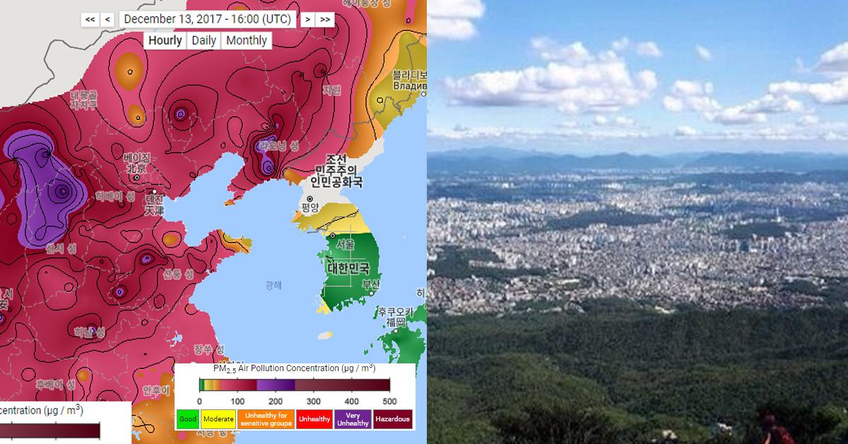 미국 환경단체 '버클리 어스(Berkeley Earth)'가 공개한 13일 오전 동아시아 지역 대기오염 정보.