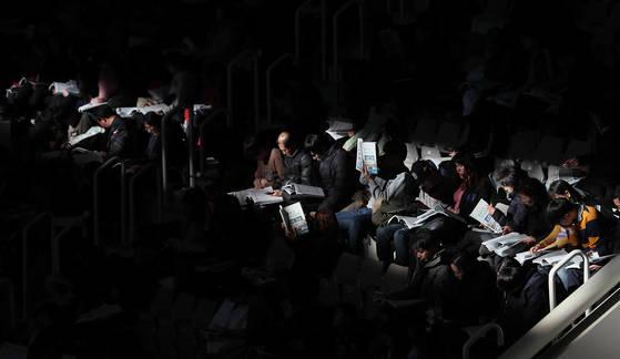 13일 오후 서울 성북구 고려대학교 화정체육관에서 종로학원 주최로 열린 2018 대입 정시설명회. [연합뉴스]