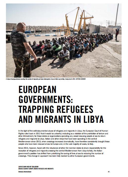 엠네스티 보고서 중 EU가 리비아라는 함정에 난민들을 빠뜨린다고 지적한 부분.