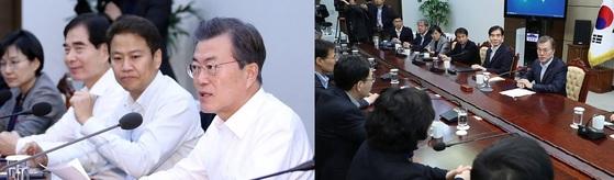 18일 오후 열린 청와대 수석보좌관 회의(오른쪽)에 임종석 비서실장이 참석하지 않았다. 왼쪽은 평소 회의에서 문재인 대통령의 오른쪽에 앉았던 임 실장. [청와대 사진기자단- 중앙포토]