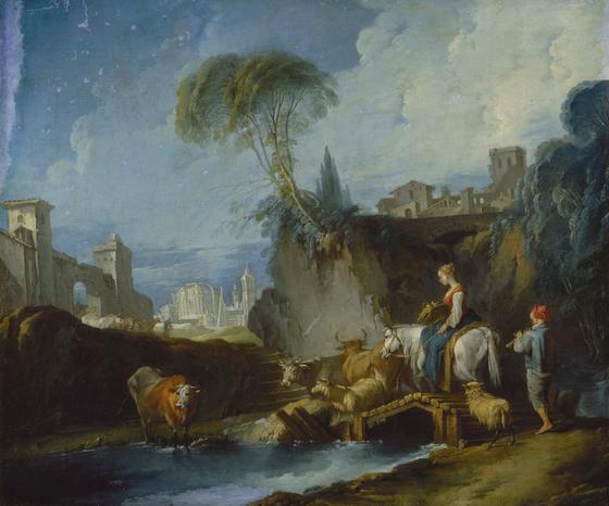 프랑수아 부셰의 '다리 건너기'. 캔버스에 유채. 1730년대 말. [사진 예르미타시박물관]