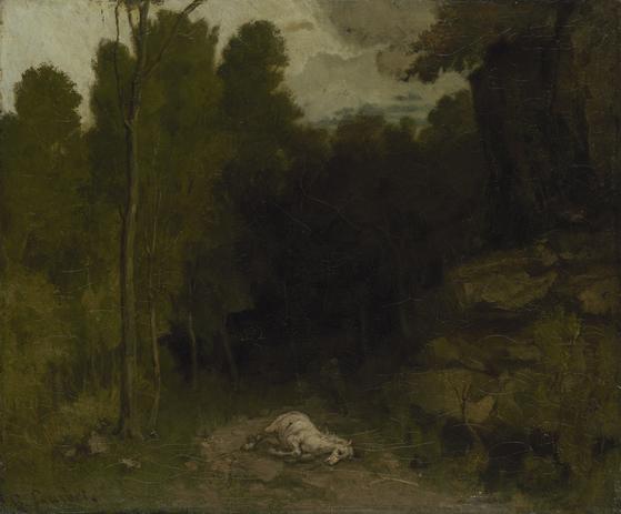 귀스타브 쿠르베의 '죽은 말이 있는 풍경'. 캔버스에 유채. 1730년대 말. [사진 예르미타시박물관]