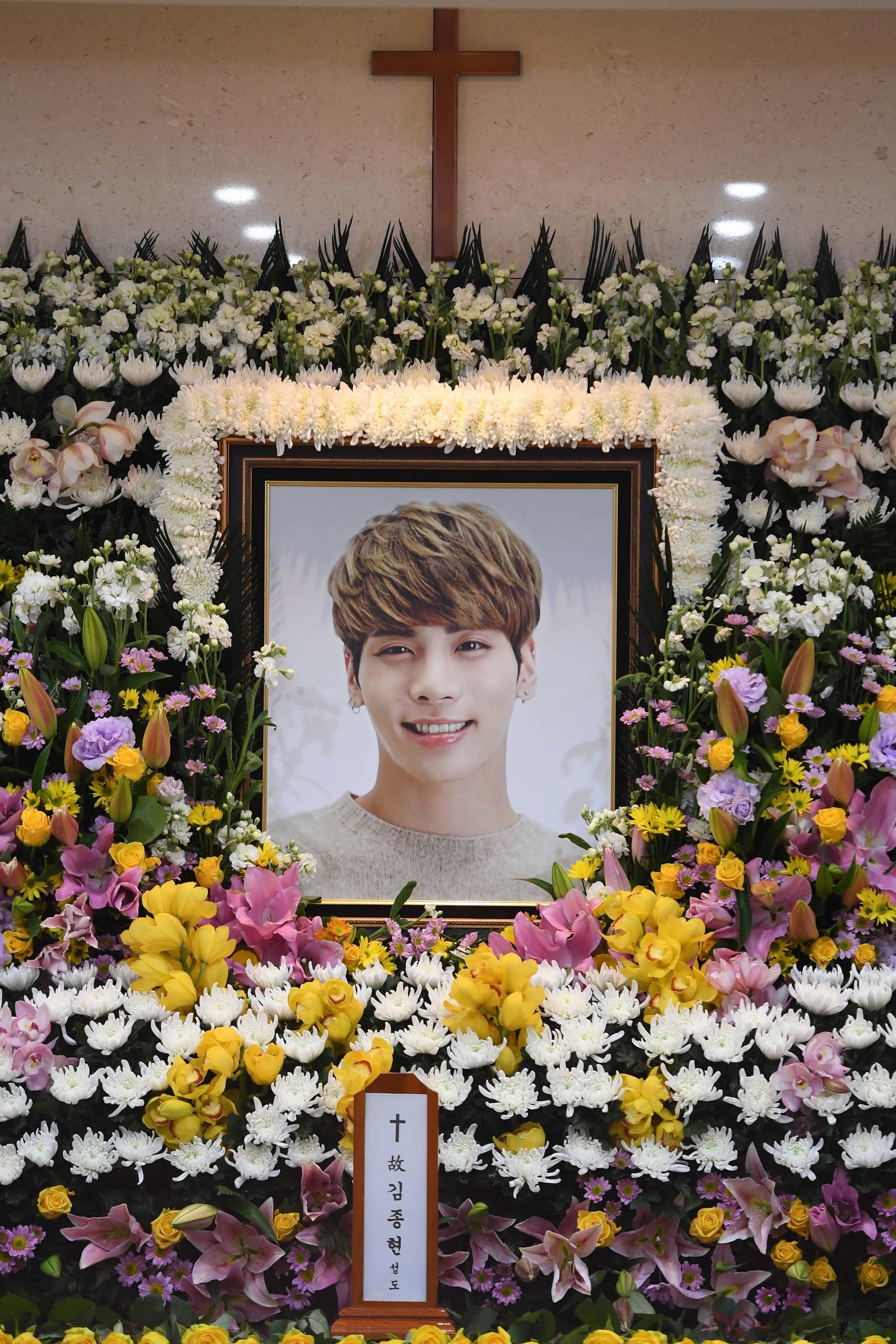 밝은 표정의 샤이니 종현의 영정사진.                         사진공동취재단