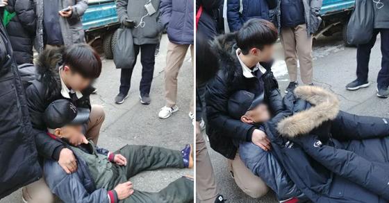 쓰러진 노인에게 점퍼를 벗어주고 집까지 안내한 중학생들. [민병두 의원 트위터]