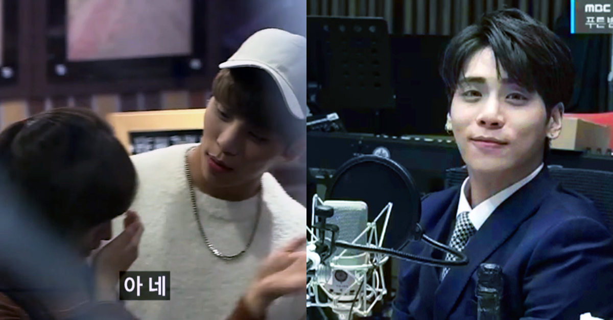 SHINee's Jonghyun comforting a fan(left) and on his last day as the host of 'Jonghyun's Blue Night.' Photo from Youtube Channel Dingo Studios(left) and MBC.