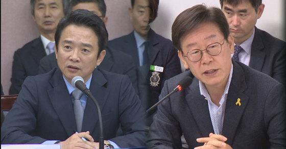 남경필 경기도지사(왼쪽)과 이재명 성남시장(오른쪽)[사진 연합뉴스TV]