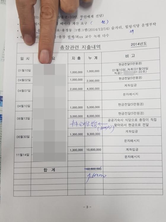 충북 청주의 한 사립대 총장에게 1060만원을 송금했다고 주장하는 A씨의 내역서. 최종권 기자