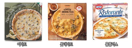 대형 마트의 치즈 피자. 이마트 '피코크 크림치즈 피자', 롯데마트 '요리하다 4치즈 스노잉피자', 홈플러스 '리스토란테 콰트로 치즈피자'(왼쪽까지). [사진 각 업체]