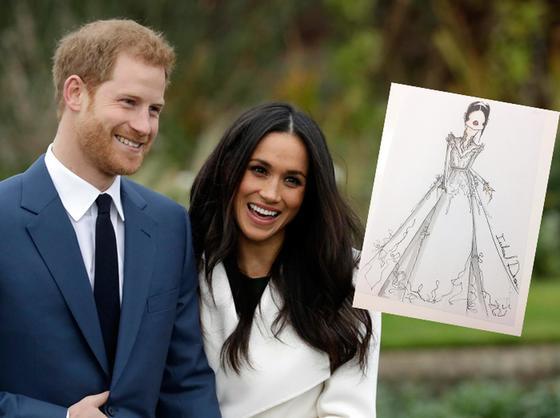 내년 5월 결혼식을 앞둔 해리 왕자와 메건 마클. 최근 마클의 로열 웨딩을 위해 왕실이 웨딩드레스 문의를 했다고 알려지는 디자이너 인발 드롤의 스케치. [중앙포토]