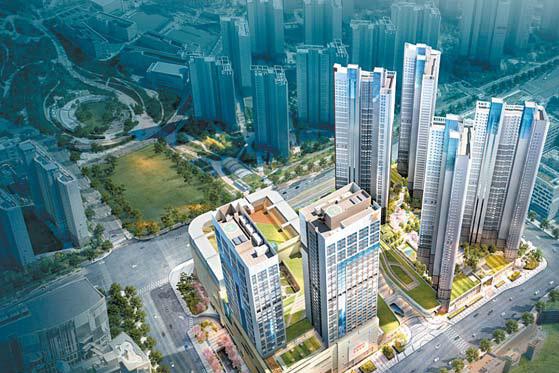 SRT 동탄역이 단지와 직접 연결되는 초역세권 아파트인 동탄역 롯데캐슬 트리니티 조감도.