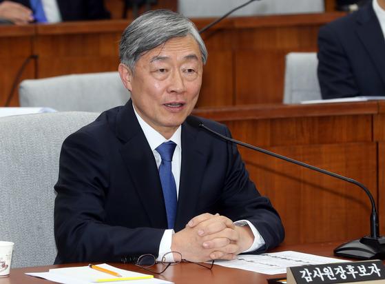 최재형 감사원장 후보자 인사청문회가 21일 국회에서 열렸다. 최 후보자가 의원질의에 답하고 있다. 강정현 기자