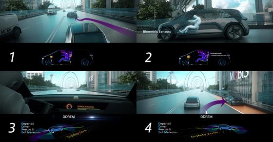운전자가 졸음 등으로 정상운전이 불가능할 때 차량이 안전한 곳으로 스스로 이동·정차하는 현대모비스의 'DDREM' 기술 [자료 현대모비스]