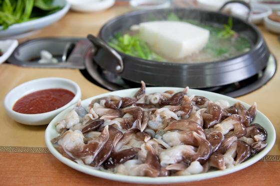 조개 중에서도 귀족 조개로 꼽히는 새조개. 탱글탱글한 특유의 식감을 즐기기 위해 샤브샤브로 해먹는다.