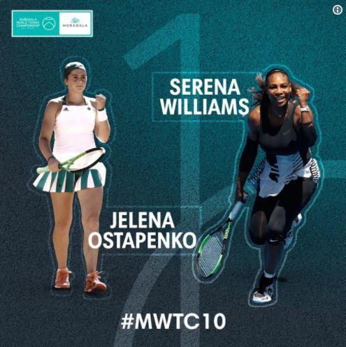 옐레나 오스타펜코(왼쪽)와 이벤트 경기를 통해 코트에 복귀하는 '테니스 여제' 세리나 윌리엄스. [사진 WTA}