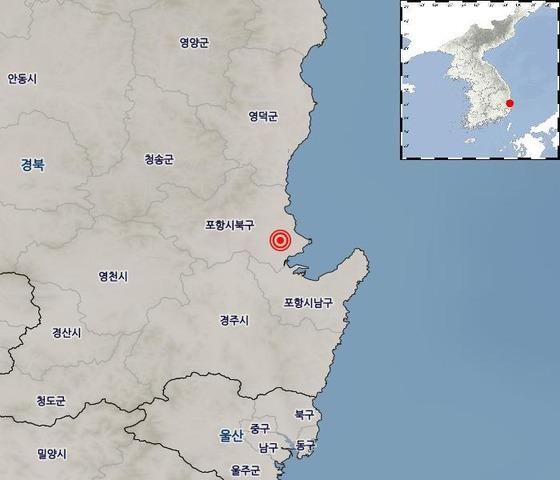 25일 오후 4시19분 경북 포항시 북구 북쪽 6km 지점에서 규모 3.5 지진이 발생했다. [사진 기상청]