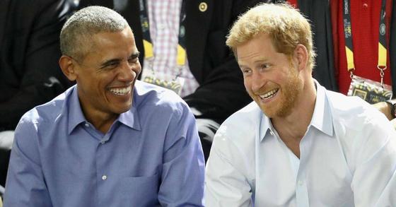 버락 오바마 전 미국 대통령과 영국의 해리 왕자. [중앙포토]