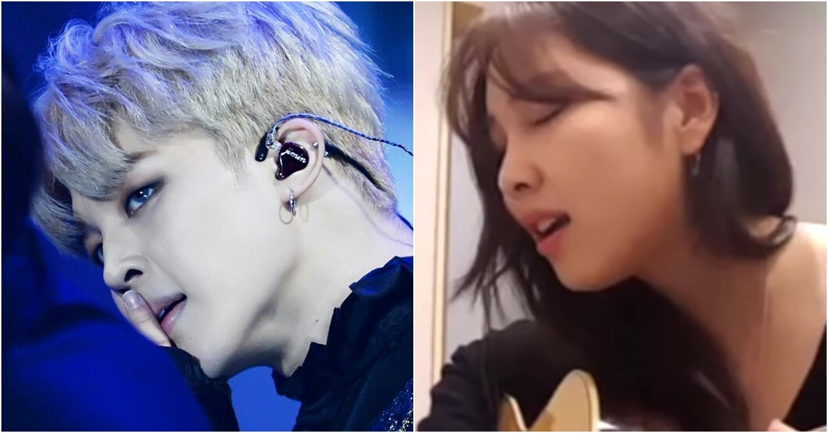 Jimin of BTS (left) and Kwon Jin-ah (right)