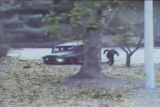 지난달 22일 공개된 북한군 귀순 상황 CCTV. 귀순병사가 차량을 버리고 남측으로 달리고 있다. 최정동 기자