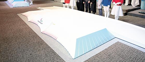 한옥 기와지붕을 형상화한 평창올림픽 시상대. [연합뉴스]