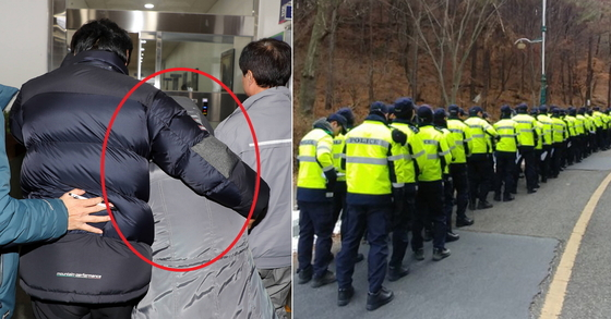 고준희(5) 시신 유기 피의자가 된 고양 친부 내연녀의 어머니 김모(61)씨(오른쪽 두번째)가 유치장으로 입감되고 있다, 오른쪽 사진은 고양 수색에 동원된 경찰들 [사진 연합뉴스]