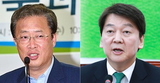 유성엽 국민의당 의원(좌)과 안철수 국민의당 대표(우) [중앙포토]
