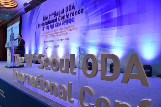 지난 9월 13일 서울 소공동 롯데호텔에서 개막된 제11회 서울 ODA 국제회의. 이날 회의는 '국제 개발협력의 미래:SDGs 시대의 ODA의 역할'을 주제로 열렸다. [연합뉴스]