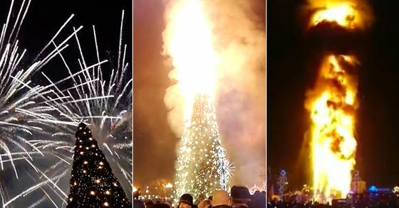 2018년 1월 1일 러시아 극동 사할린주 주도 유즈노사할린스크 시내 중앙광장에 세워져 있던 25m 높이의 대형 트리에 폭죽 불꽃이 튀면서 불이났다. [The Siberian Times 홈페이지 캡처]
