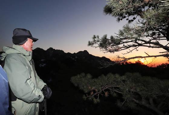 문재인대통령이 1일 사모바위에서 새해 첫 일출을 바라보고 있다. [사진 청와대]