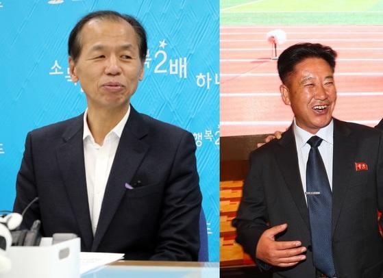 최문순 강원도지사(왼쪽)와 문웅 북한 청소년 축구단장. [뉴스1, 연합뉴스]