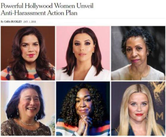 '타임즈 업'(Time's Up) 참여자들. 시계 방향으로 배우 아메리카 페레라(America Georgine Ferrera), 에바 롱고리아(Eva Longoria), 변호사 니나 쇼(Nina L. Shaw), 배우 리스 위더스푼(Reese Witherspoon), 작가 숀다 라임스(Shonda Rhimes), 변호사 티나 첸(Tina Tchen). [사진 뉴욕타임스(NYT) 1일 온라인 기사 갈무리]