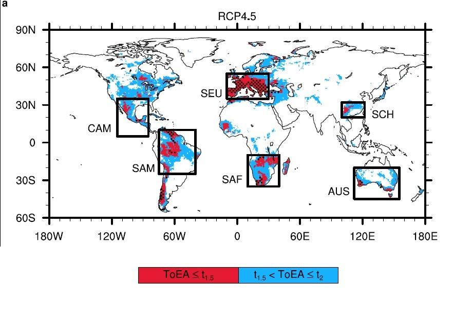 기온 상승에 따라 건조화.사막화가 진행될 것으로 예측되는 지역. 붉은색으로 표시된 곳은 지구 평균 기온 상승이 1.5도 이하인 상황에서, 파란색으로 표시된 곳은 기온 상승이 1.5~2도 상승할 때 건조화와 사막화가 나타날 것으로 예상되는 지역이다. [자료 서울대 허창회 교수팀]
