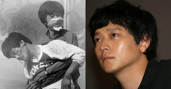 87년 6월 교내시위 중 부상을 입고 쓰러지는 이한열 열사(왼쪽)와 배우 강동원. [중앙포토]