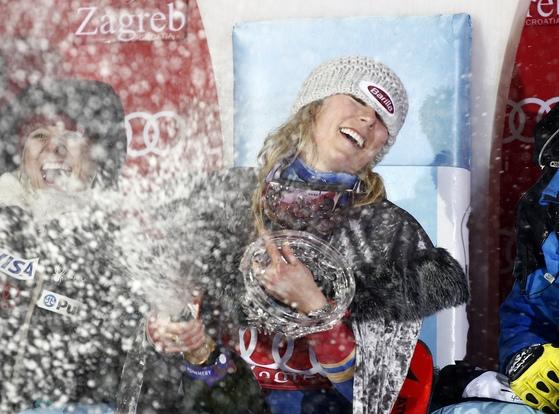 4일 크로아티아 자그레브에서 열린 알파인 스키 월드컵 회전에서 우승한 시프린. [AP=연합뉴스]