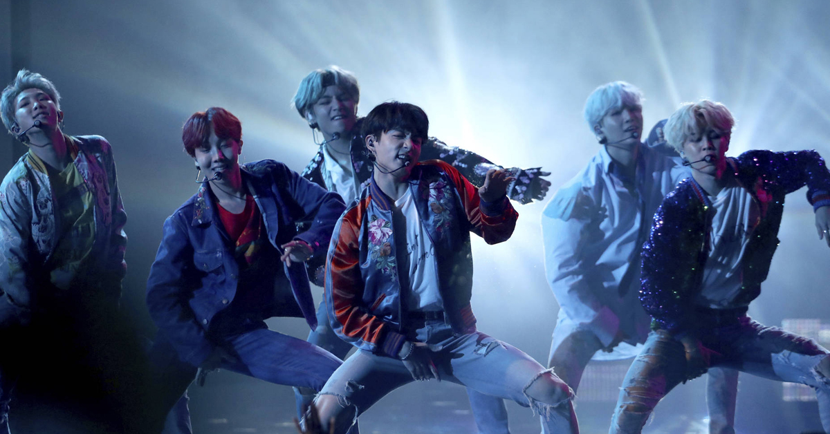 BTS performing at the 'American Music Awards.' Photo from AP.