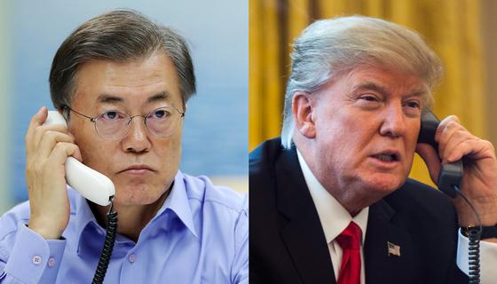 트럼프 대통령(오른쪽)과 통화를 나누는 문재인 대통령 [청와대 제공ㆍ연합뉴스 자료사진]