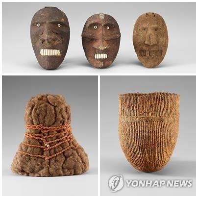 국립중앙박물관이 지난해 5월 부터 전시 중인 '오타니 컬렉션'. 위쪽부터 시계방향으로 얼굴 조각, 바구니, 모자.[연합뉴스]