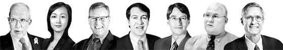 에번스 리비어, 수미 테리, 패트릭 크로닌, 스콧 스나이더, 프랭크 자누지, 데이비드 맥스웰, 브루스 베넷(왼쪽부터).