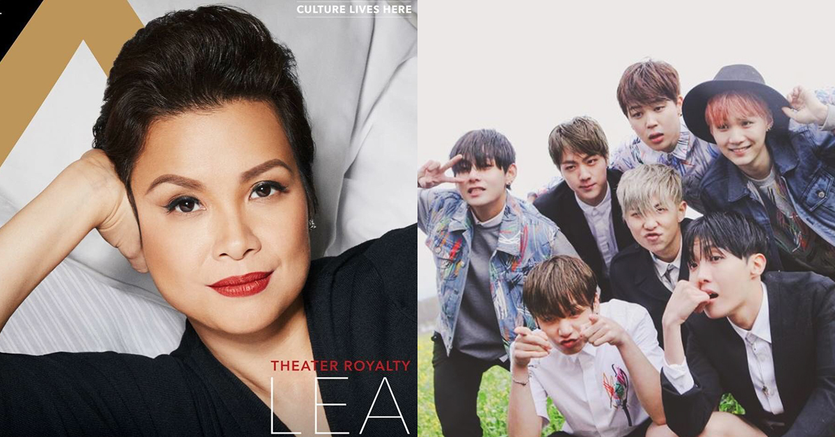 Lea Salonga, Twitter @MsLeaSalonga (left) and BTS, Instagram @bts.bighitofficial (right)